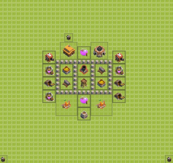 clash of clans TH3 для фарма 3