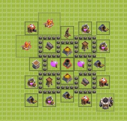 clash of clans TH4 для фарма 1